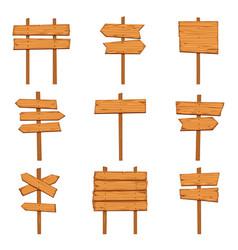 Cartoon wooden arrows blank wood signboards vector