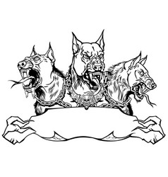 cerberus hellhound design template with ribbon vector image
