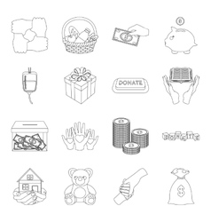 Charity and donation set icons in outline style vector