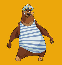 cheerful cartoon bear with the hat of a sea vector image