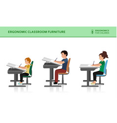 Children ergonomic wrong and correct sitting pose vector