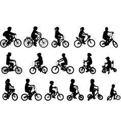Children riding bicycles silhouettes collection vector