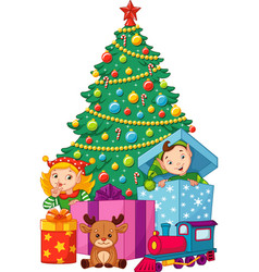 Christmas tree with elves vector