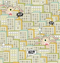 City with octopus vector