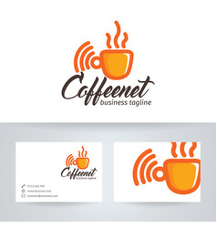 Coffee and network logo vector