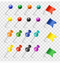 Colored pins flags tack pointer pinned markers vector