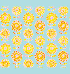 Concept decorative marigold flower 60s style vector
