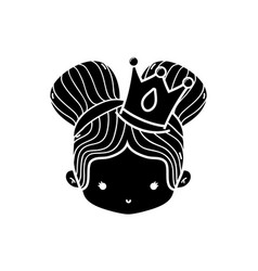 Contour girl head with crown and two buns hair vector