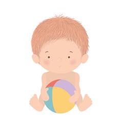 Cute baboy with ball design vector