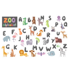 Cute zoo alphabet with cartoon animals isolated on vector