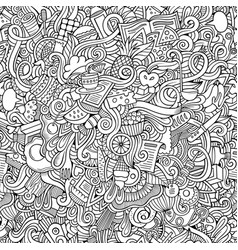 Doodles hand drawn food seamless pattern vector