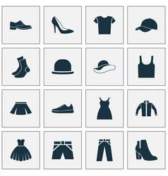 Dress icons set collection of dress half-hose vector