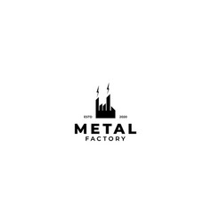 Factory building metal logo design vector