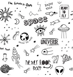 Fashion sketch pattern with space patches vector