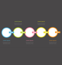 five step timeline infographic colorful round vector image