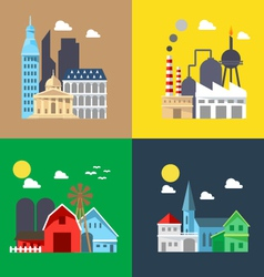 Flat design of cityscape pack vector image