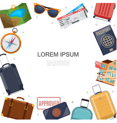 flat travel accessories template vector image