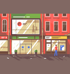 flat young man on street with shop windows vector image