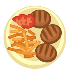 french fries and meatballs with tomato slices vector image