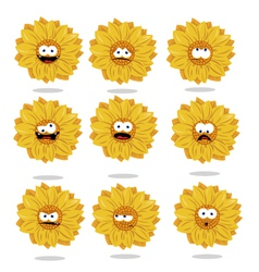 funny sunflower emoticons vector image