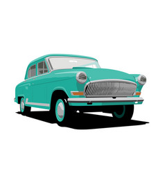 Green retro car vector