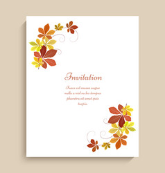 Greeting card with yellow autumn leaves vector