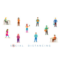 Group people in social distancing concept vector