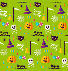halloween party seamless pattern vector image