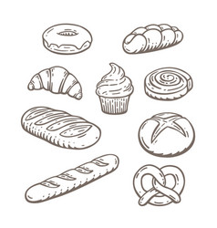 Hand drawn baked goods vector
