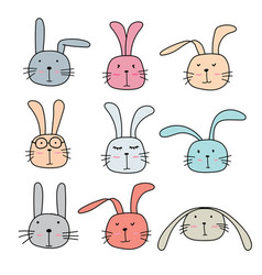 Hand drawn bunny cute characters set vector