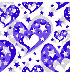 Hearts stars romantic seamless pattern vector