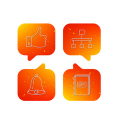 hierarchy like and bell icons vector image