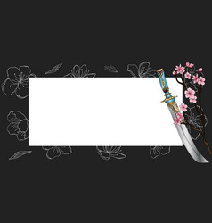 horizontal spring banner in oriental style vector image