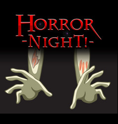 horror night text logo with corpse hands vector image