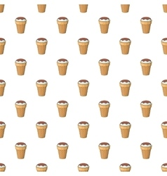 Ice cream with chocolate in waffle cup pattern vector