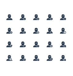 Icon set male user avatars for web account vector