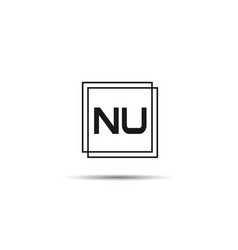 initial letter nu logo template design vector image