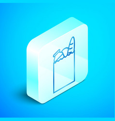 Isometric line paper shopping bag and food icon vector