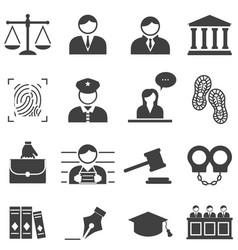 Justice law legal icons vector