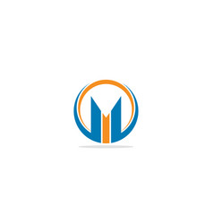 m initial round company logo vector image