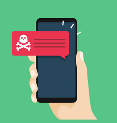 Malware notification on smartphone vector