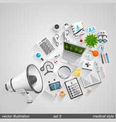 megaphone medical style set 5 vector image