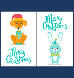 Merry christmas dog and rabbit vector