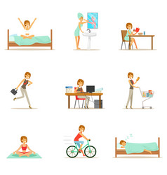 Modern woman daily routine from morning to evening vector