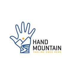 mountain hand inspiration outline logo vector image