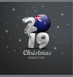 New zealand flag 2019 merry christmas typography vector