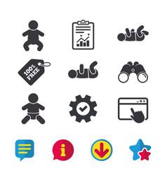 Newborn icons baby infants symbols vector