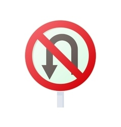 No U turn road sign icon cartoon style vector image
