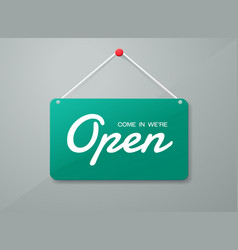 Open door sign label with text in flat style vector