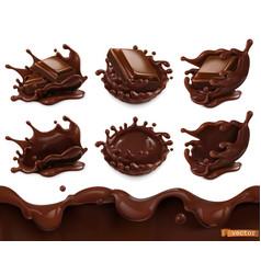 piece chocolate and chocolate splash seamless vector image